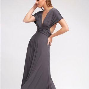 Lulu's Convertible Maxi Dress Dark Grey